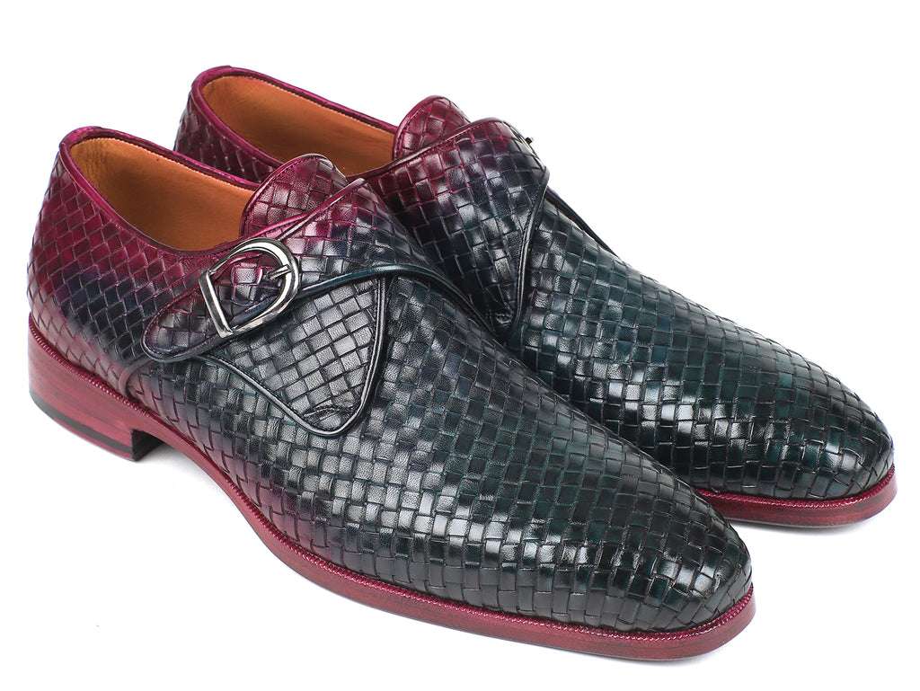 Paul Parkman Purple & Green Woven Leather Single Monkstraps (ID#011WN28)