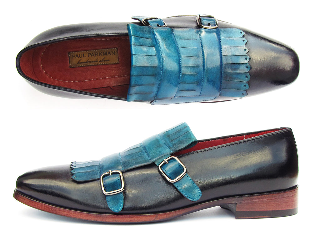 Paul Parkman Men's Blue & Navy Kiltie Double Monkstraps (ID#ST17BLU)