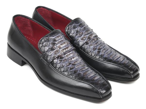 Paul Parkman Men's Gray & Black Genuine Python and Calfskin Loafer (ID#23H71)