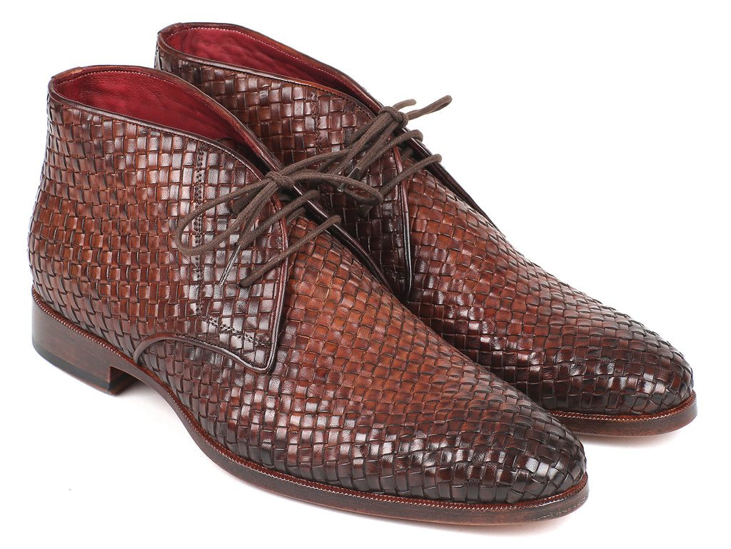 Paul Parkman Men's Brown Woven Leather Chukka Boots (ID#CK82WVN)