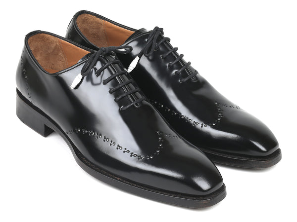 Paul Parkman Goodyear Welted Wingtip Oxfords Black Polished Leather (ID#181BLK55)