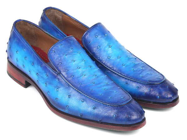 Paul Parkman Genuine Ostrich Loafers Ocean Blue (ID#73954-BLU)