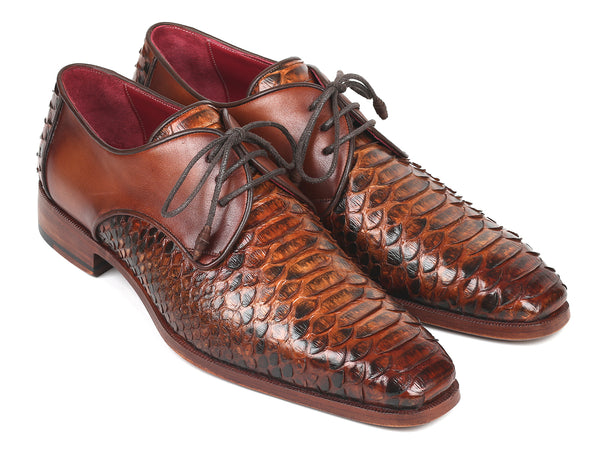 Paul Parkman Men's Brown Genuine Python & Calfskin Derby Shoes (ID#PT59BRW)
