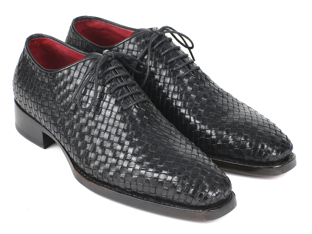 Paul Parkman Men's Black Woven Leather Oxfords (ID#044WN86)
