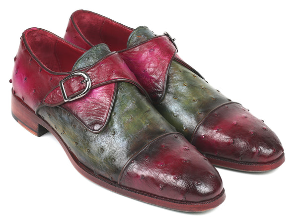 Paul Parkman Genuine Ostrich Monkstraps Green & Purple (ID#91Z68)
