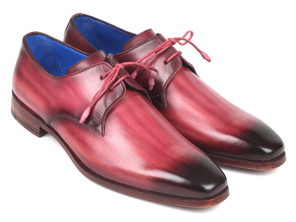 Paul Parkman Pink & Purple Hand-Painted Derby Shoes (ID#326-PNP)