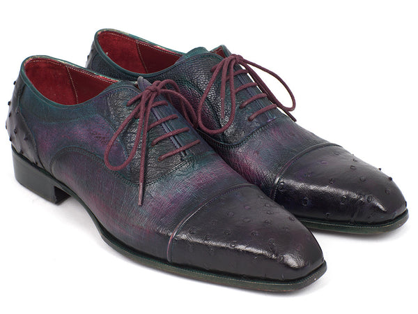 Paul Parkman Men's Genuine Ostrich Captoe Oxfords Purple (ID#24XS-PRP)