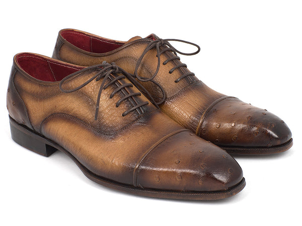Paul Parkman Men's Genuine Ostrich Captoe Oxfords Camel Color (ID#24XS-CML)