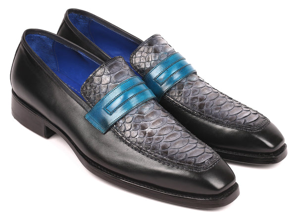 Paul Parkman Gray Genuine Python & Calfskin Goodyear Welted Loafers (ID#55GRY53)