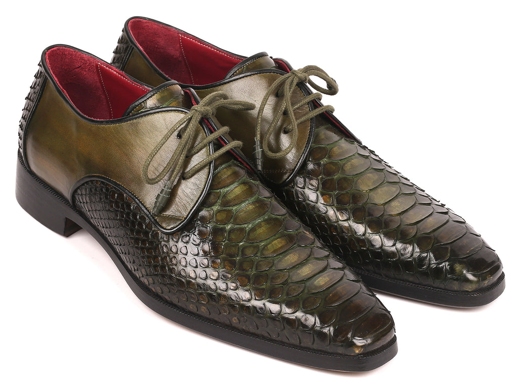 Paul Parkman Men's Green Genuine Python & Calfskin Derby Shoes (ID#PT71GRN)