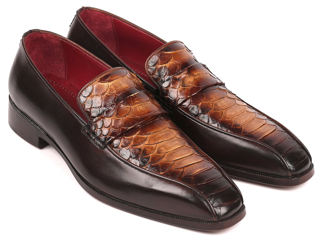 Paul Parkman Brown Genuine Python and Calfskin Loafers (ID#24K18)