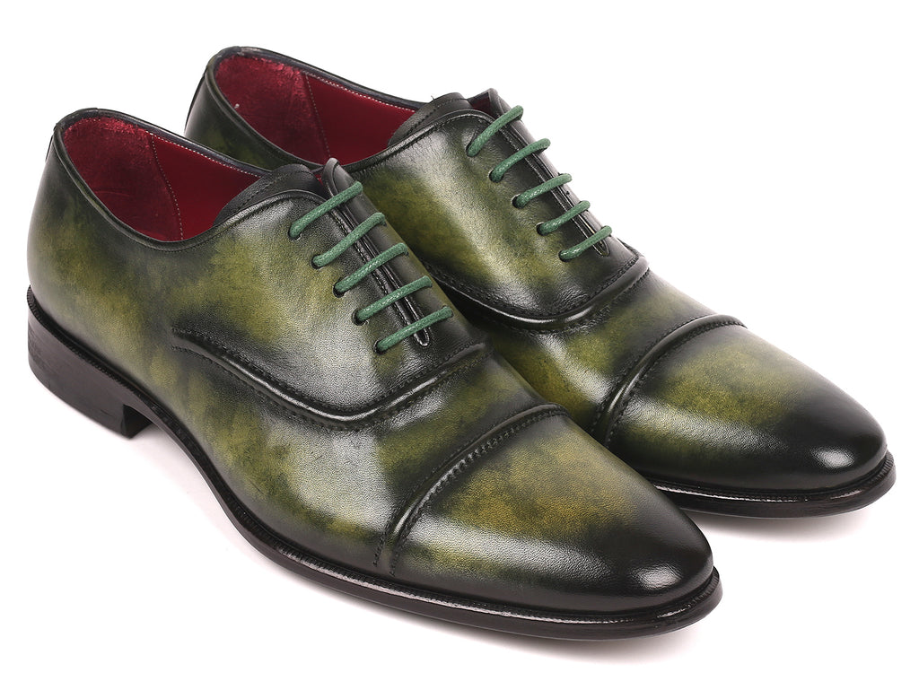 Paul Parkman Men's Cap-Toe Oxfords Green (ID#077-GRN)