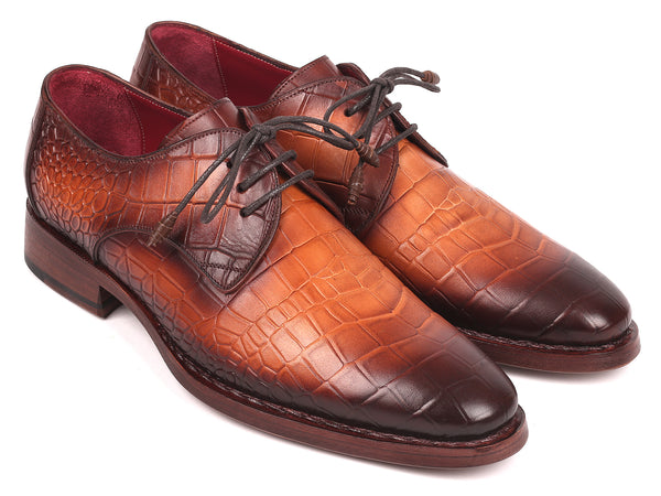 Paul Parkman Brown Crocodile Embossed Calfskin Goodyear Welted Derby Shoes (ID#5286BRW)