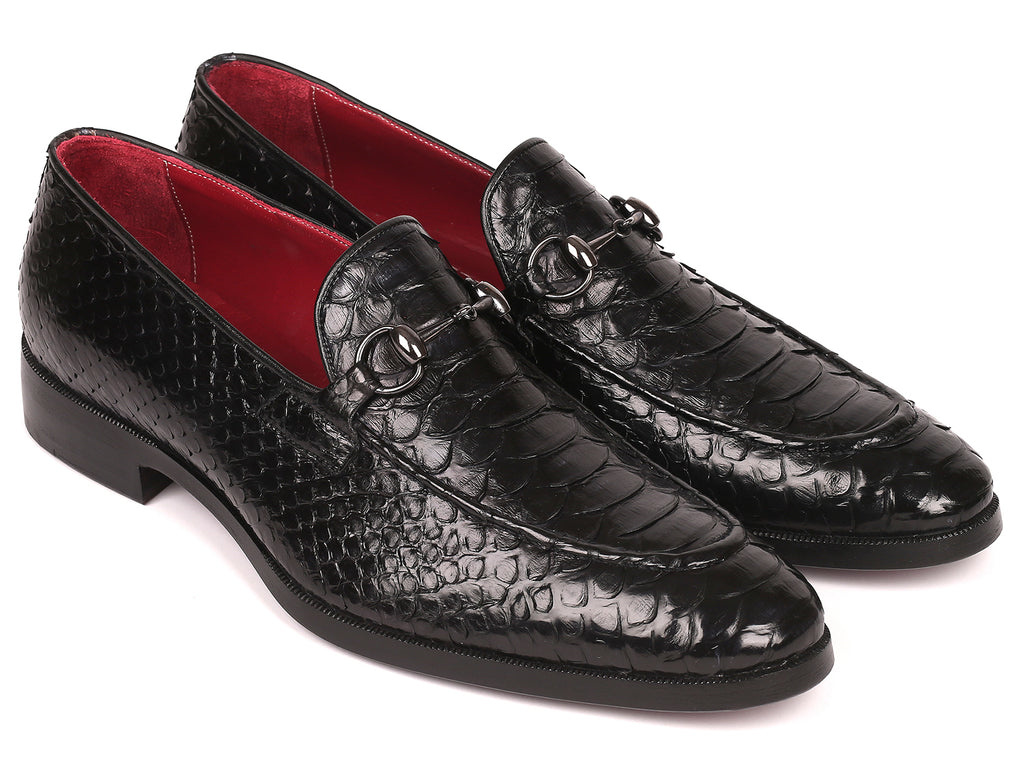 Paul Parkman Men's Black Genuine Python Horsebit Loafers (ID#62HB77)