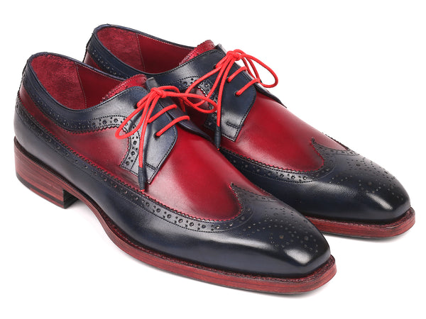 Paul Parkman Goodyear Welted Wingtip Derby Shoes Navy & Bordeaux (ID#511N85)