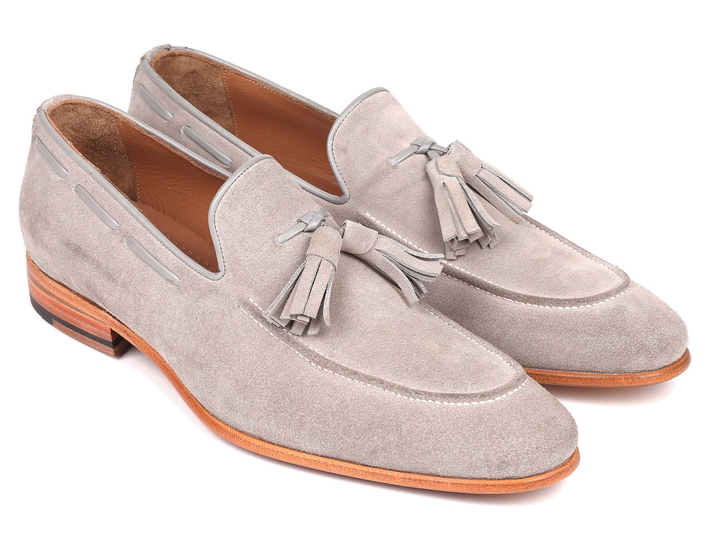 Paul Parkman Men's Tassel Loafers Grey Suede (ID#GRY32FG)