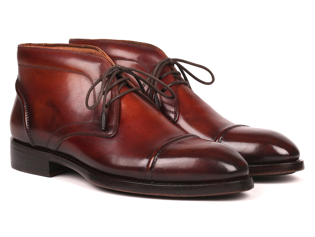 Paul Parkman Men's Cap Toe Chukka Boots Brown (ID#144BRW68)