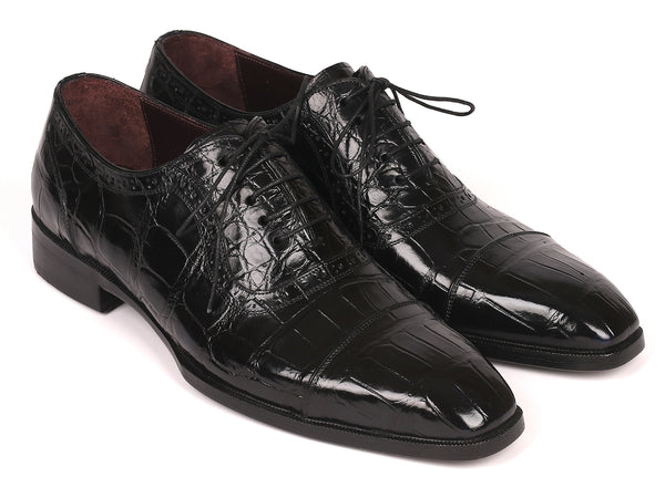Paul Parkman Black Genuine Crocodile Captoe Oxfords (ID#24BK85)