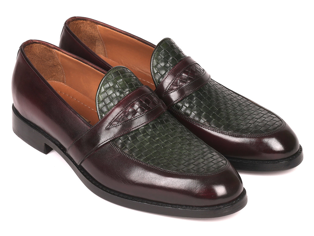 Paul Parkman Woven Leather Loafers Brown & Green (ID#548LF832)