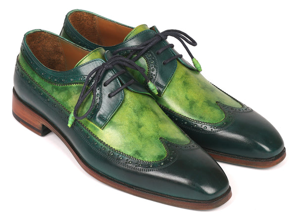 Paul Parkman Men's Green Dual Tone Wingtip Derby Shoes (ID#6931GRN)