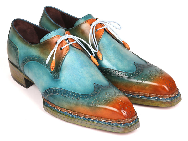 Paul Parkman Norwegian Welted Wingtip Derby Shoes Turquoise & Tobacco (ID#8506-TRQ)