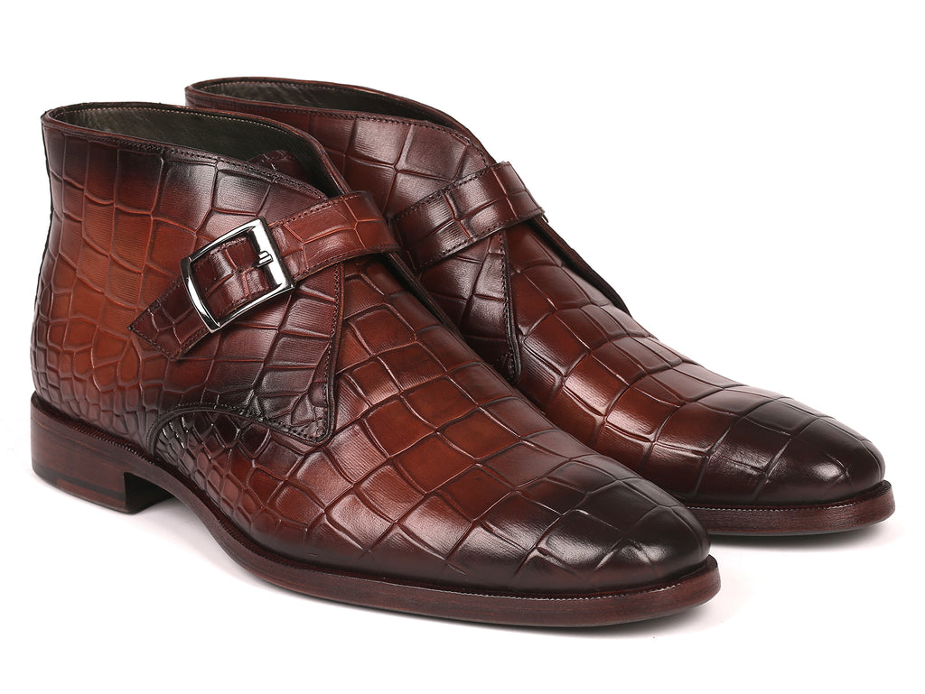 Paul Parkman Single Monk Strap Ankle Boots Brown (ID#8638-BRW)