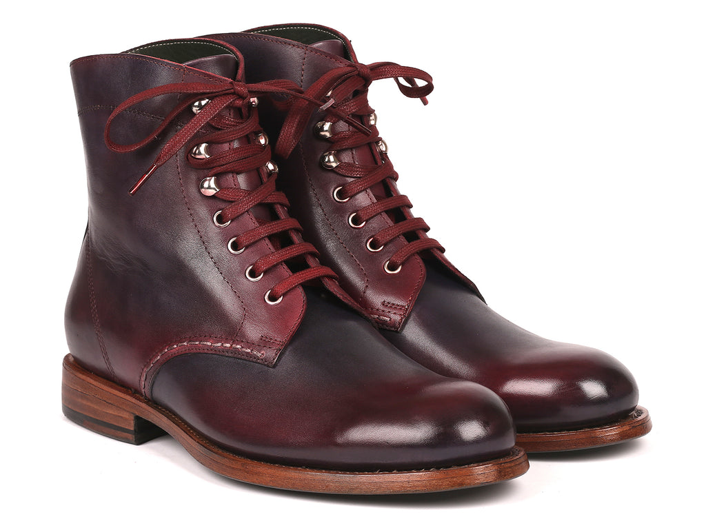 Paul Parkman Men's Leather Boots Bordeaux & Navy (824BRD65)