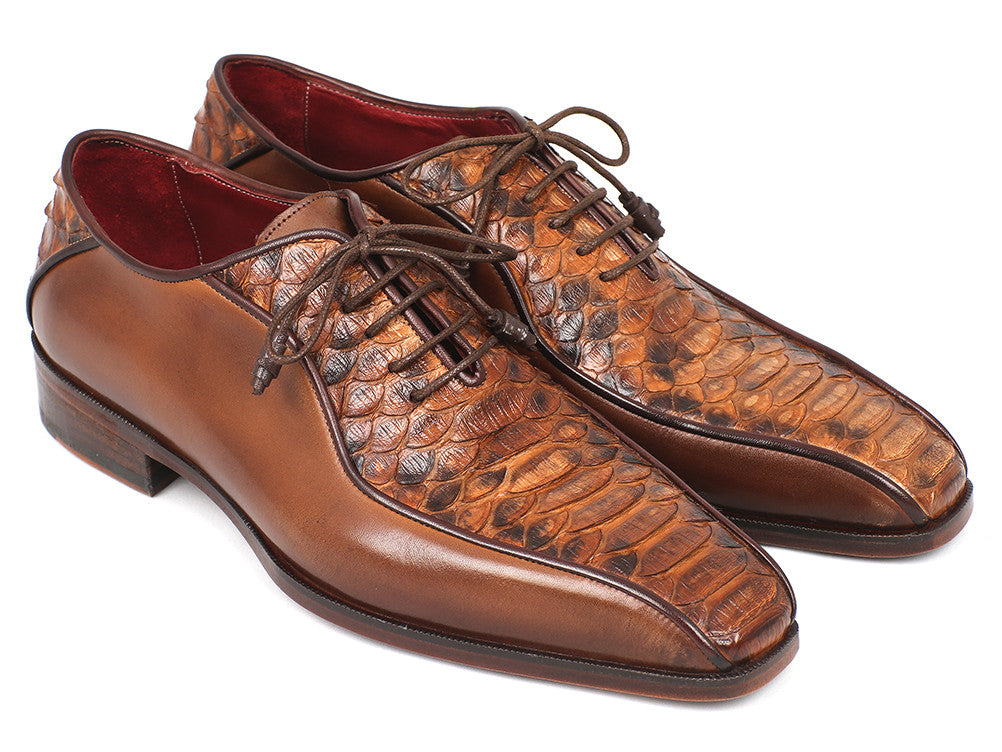 Paul Parkman Brown Genuine Python & Calfskin Bicycle Toe Oxfords (ID#94DE14)