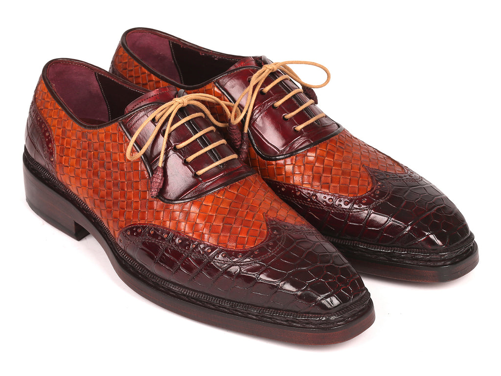 Paul Parkman Genuine Crocodile & Woven Leather Oxfords (ID#34TW84)