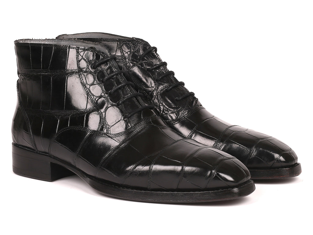 Paul Parkman Black Genuine Crocodile Ankle Boots for Men (ID#681BLK63)