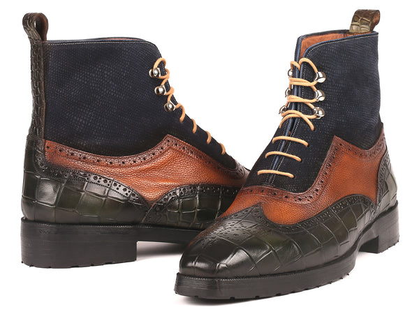Paul Parkman Three Tone Wingtip Boots Rubber Sole (ID#9735GBN)