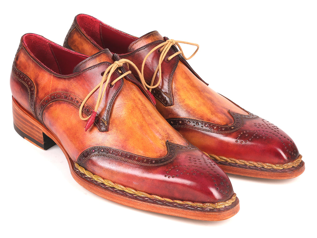 Paul Parkman Norwegian Welted Wingtip Derby Shoes Red & Camel (ID#8506-CML)