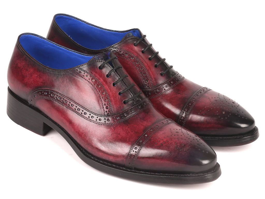 Paul Parkman Bordeaux Burnished Goodyear Welted Cap Toe Oxford Shoes (ID#79BRD68)