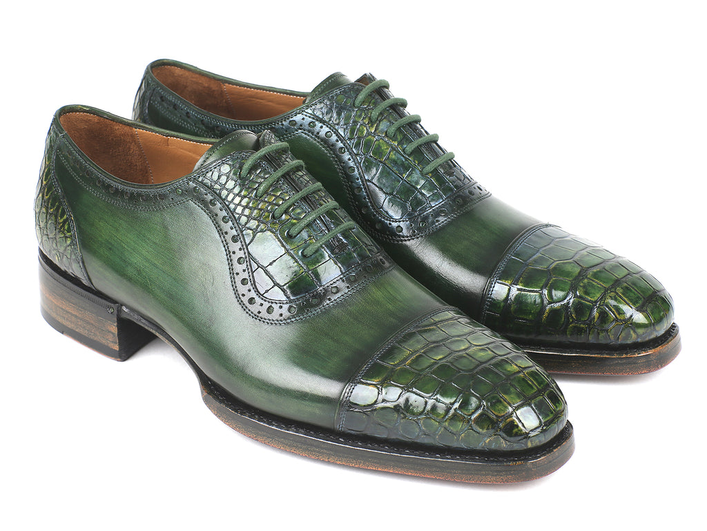 Paul Parkman Green Genuine Crocodile & Calfskin Captoe Oxfords (ID#845-GRN)