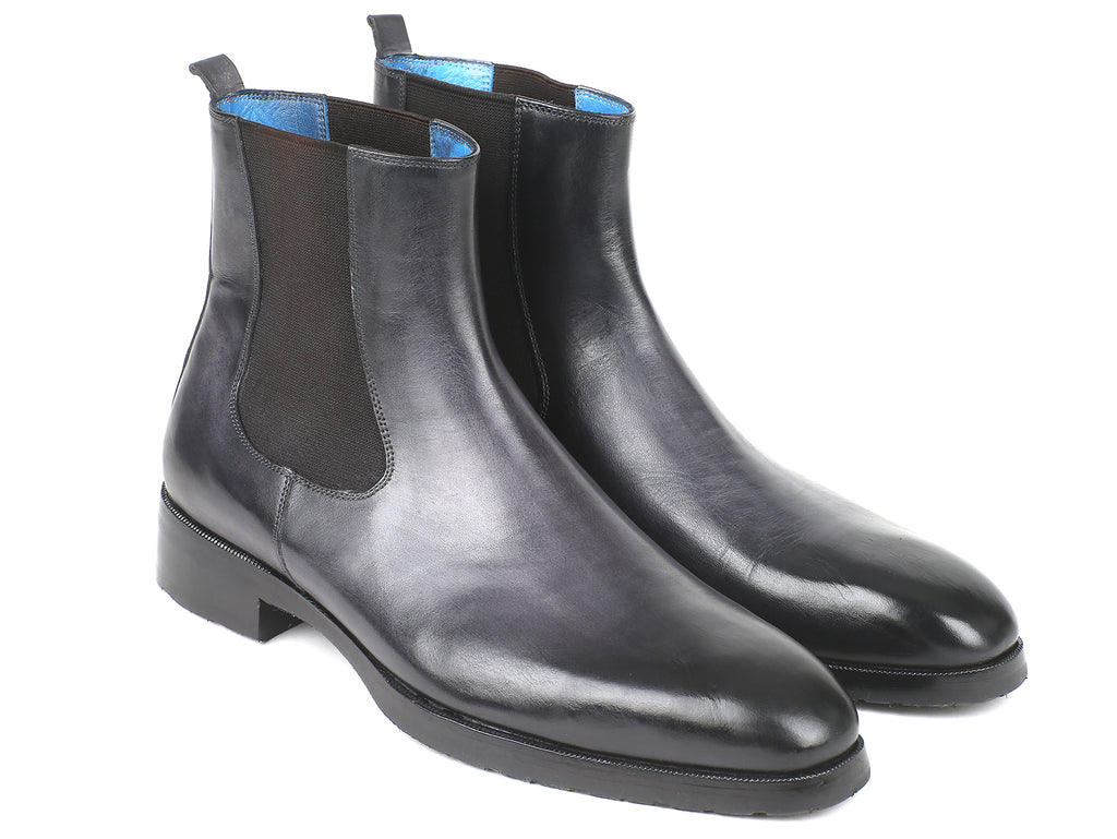 Paul Parkman Black & Gray Chelsea Boots (ID#BT661BLK)