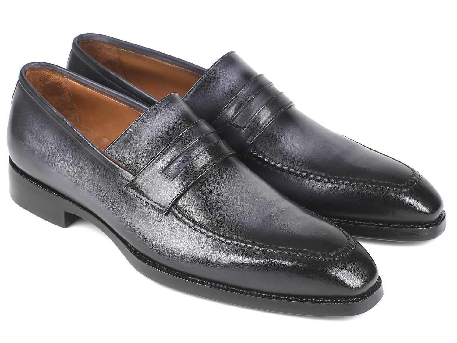 Gray Burnished Goodyear Welted Loafers Shoes (ID#37LFGRY)