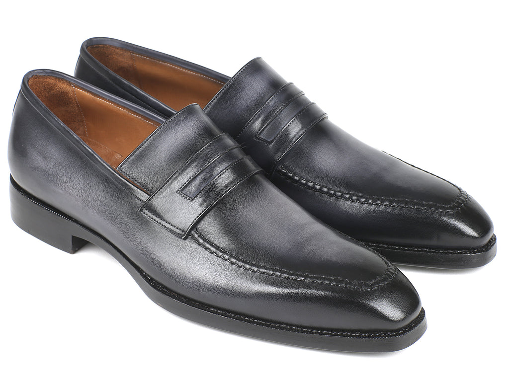 Paul Parkman Gray Burnished Goodyear Welted Loafers (ID#37LFGRY)