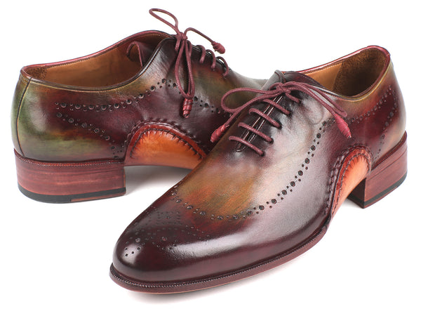 Paul Parkman Opanka Construction Green & Bordeaux Oxfords (ID#726-GRE-BOR)