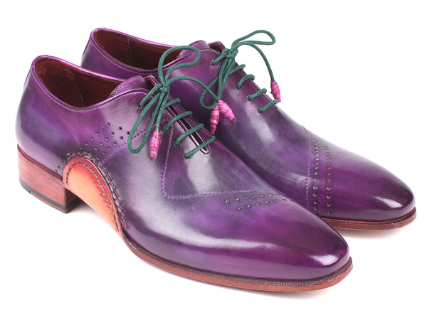 Paul Parkman Opanka Construction Purple Hand-Painted Oxfords (ID#OPK66KD)