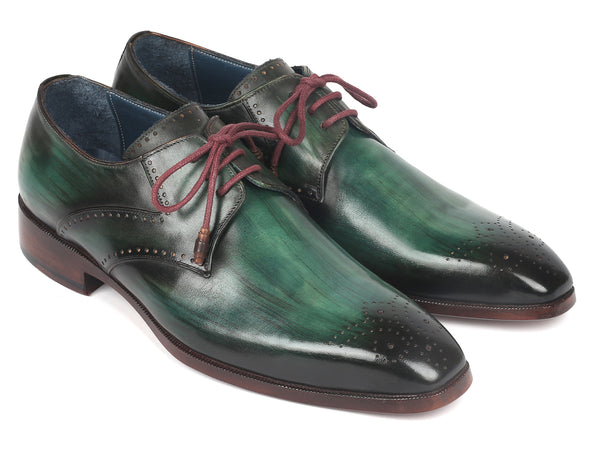 Paul Parkman Men's Green Medallion Toe Derby Shoes (ID#6584-GRN)
