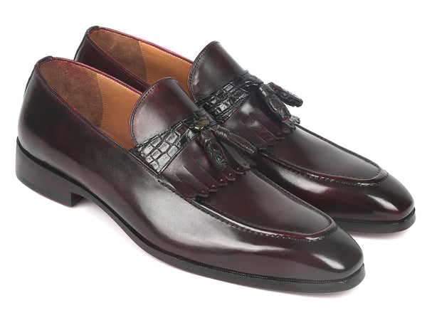 Paul Parkman Dark Bordeaux Calfskin & Genuine Crocodile Tassel Loafers (ID#5155-BRD)
