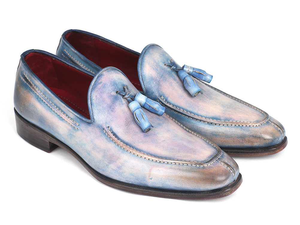 Paul Parkman Tassel Loafers Lila Hand-Painted (ID#083-LIL)