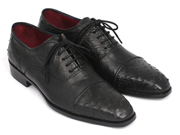 Paul Parkman Men's Genuine Ostrich Captoe Oxfords Black (ID#24XS-BLK)