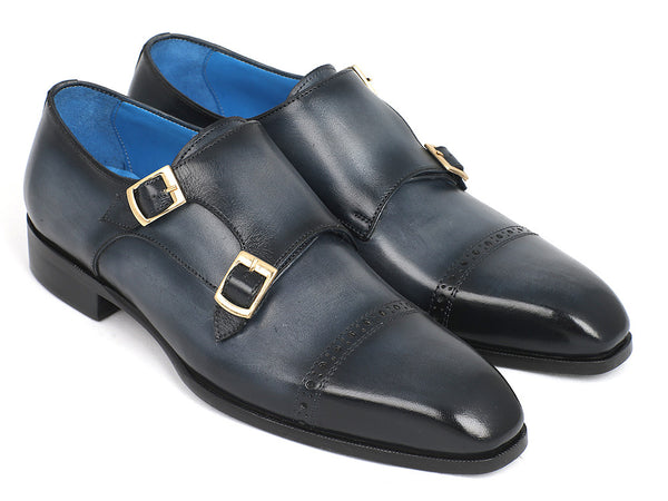 Paul Parkman Captoe Double Monkstraps Navy (ID#045NVY62)