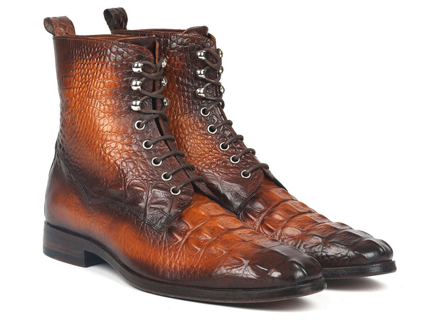 Paul Parkman Men's Brown Croco Embossed Leather Lace-Up Boots (ID#BT744-BRW)