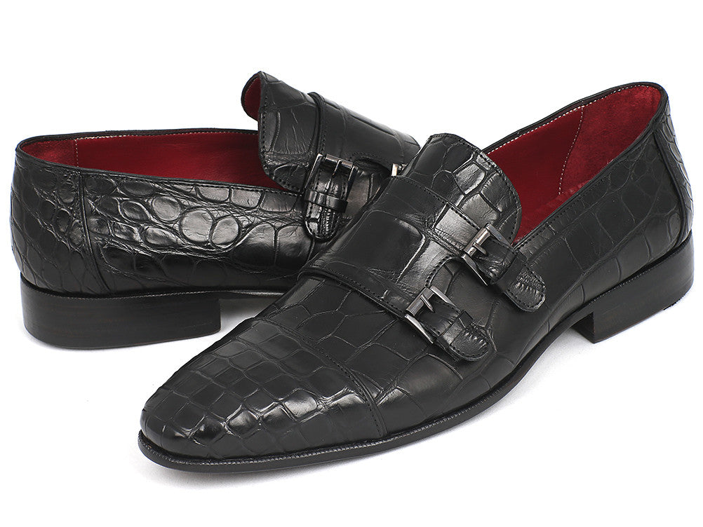 Paul Parkman Genuine Crocodile Black Double Monkstraps (ID#77BZ31)