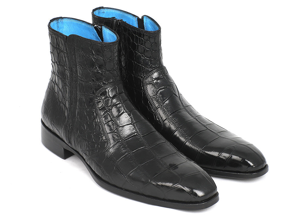 Paul Parkman Black Crocodile Side Zipper Boots (ID#BT87FH65)
