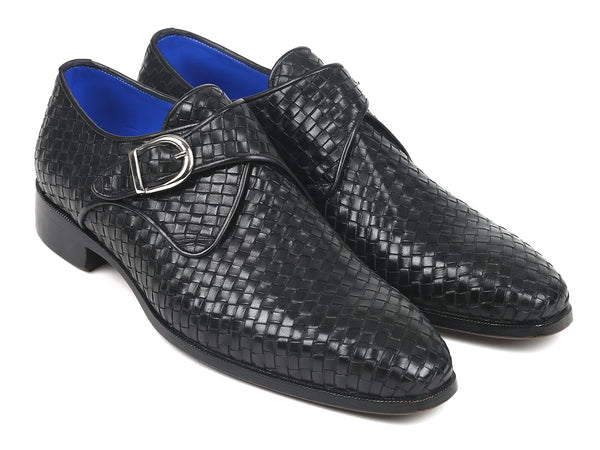 Paul Parkman Black Woven Leather Single Monkstraps (ID#011WN95)