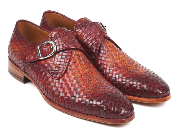 Paul Parkman Reddish Brown Woven Leather Single Monkstraps (ID#011WN57)