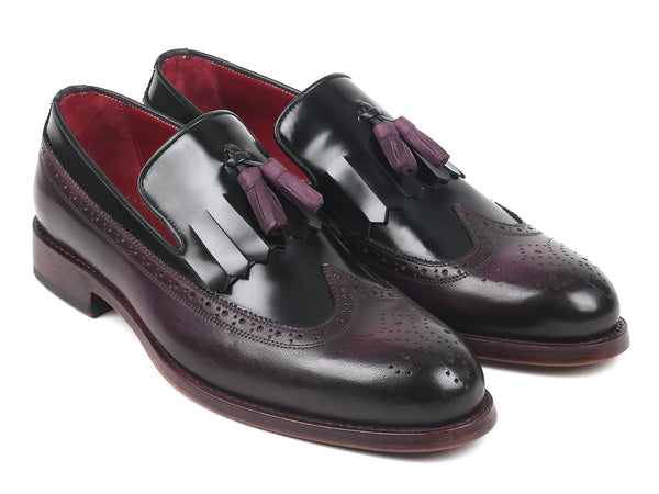 Paul Parkman Kiltie Tassel Loafer Black & Purple (ID#KT92PX)